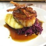breezekohtao.com Roasted pork belly, braised red cabbage, apple sauce and mash potato